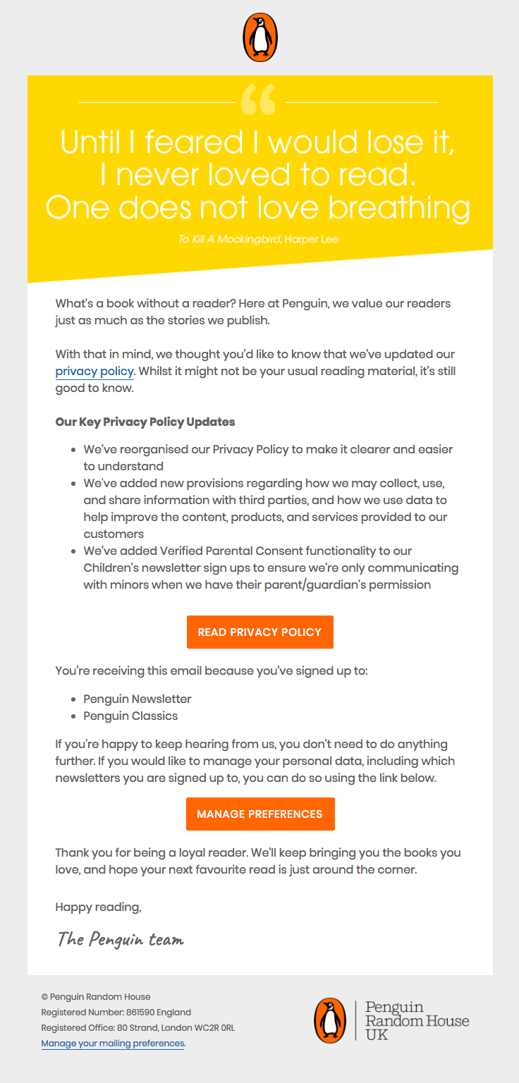Penguinukbooks Sent This Email With The Subject Line We Ve Updated Our Privacy Policy Read About This Email And Fi Best Email Newsletter Examples What Book