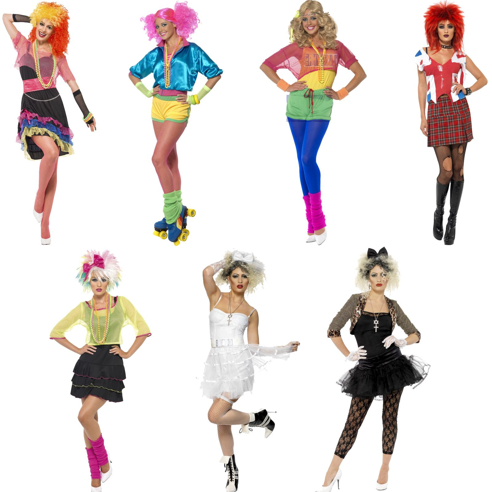 9ba33699d6 Adult Ladies Eighties 80s Pop Star Rock Punk Skater Girl Fancy Dress New  Costume