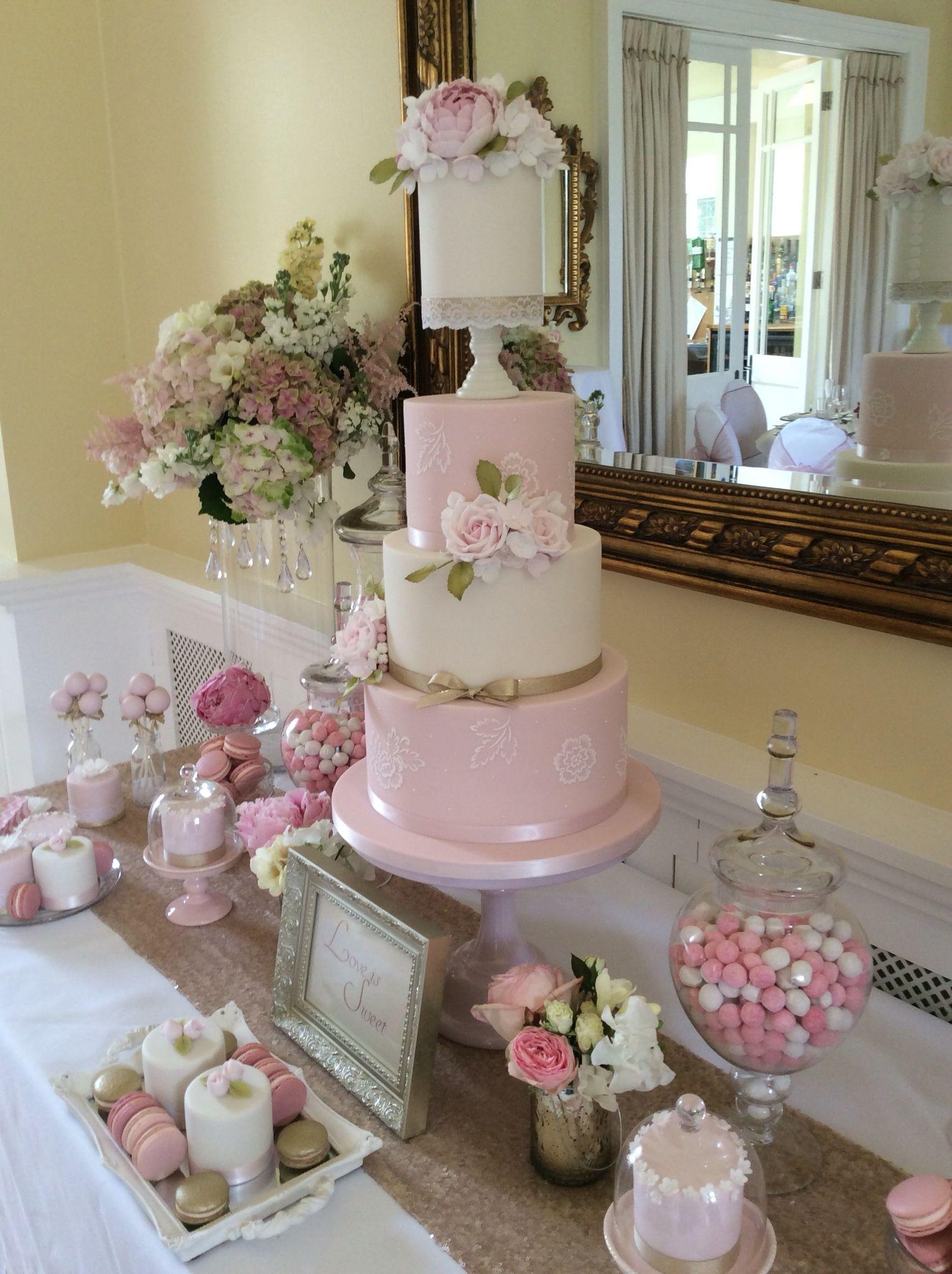 Absolutely gorgeous pink u cream wedding cake from the designer cake