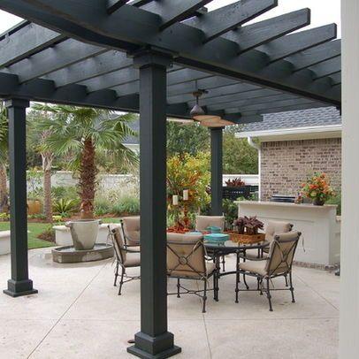 Stamped Concrete Patio Designs Concrete Pergola Columns Design Ideas Pictures Remodel And Decor Pergola Designs Pergola Patio Pergola Lighting