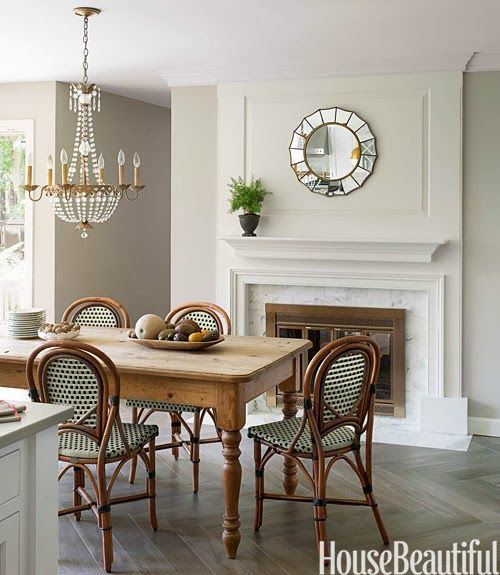 A Gorgeous White Kitchen With Images Beautiful Dining Rooms Bistro Chairs