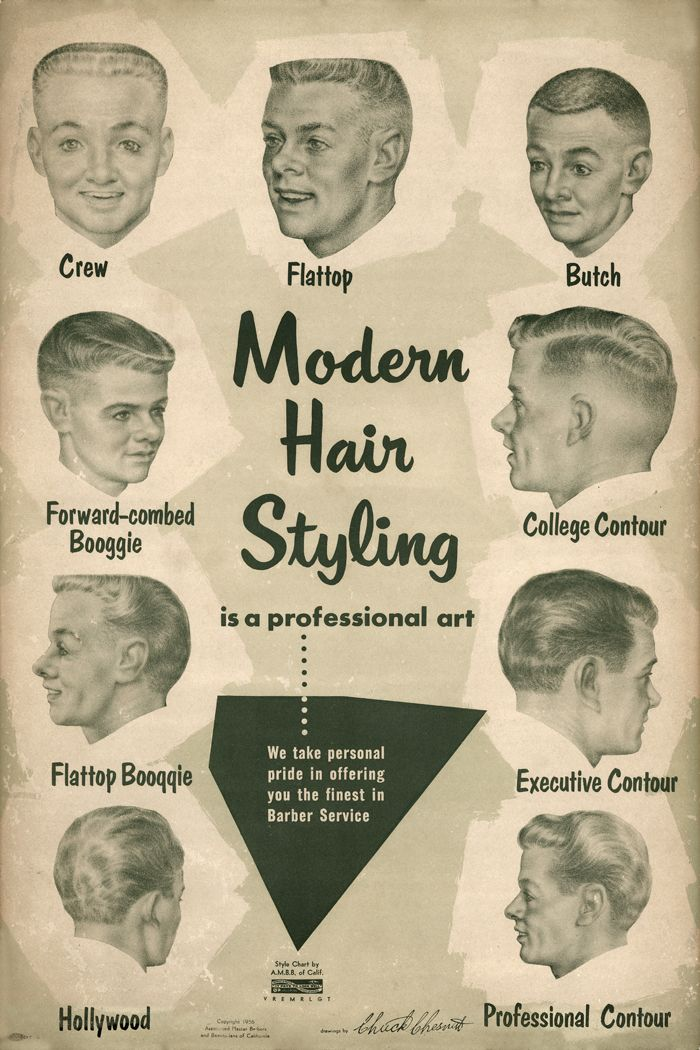 1957 Barbershop Modern 9 Haircut Photo Chart Sign Ads The Great
