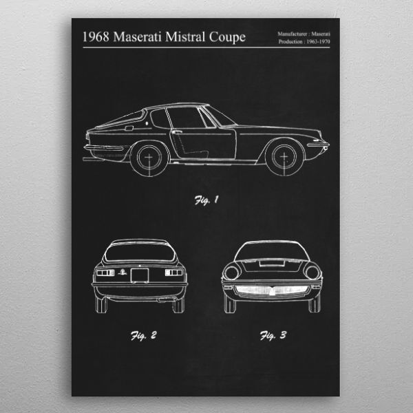 1968 Maserati Mistral by FARKI15 DESIGN | metal posters - Displate | Displate thumbnail