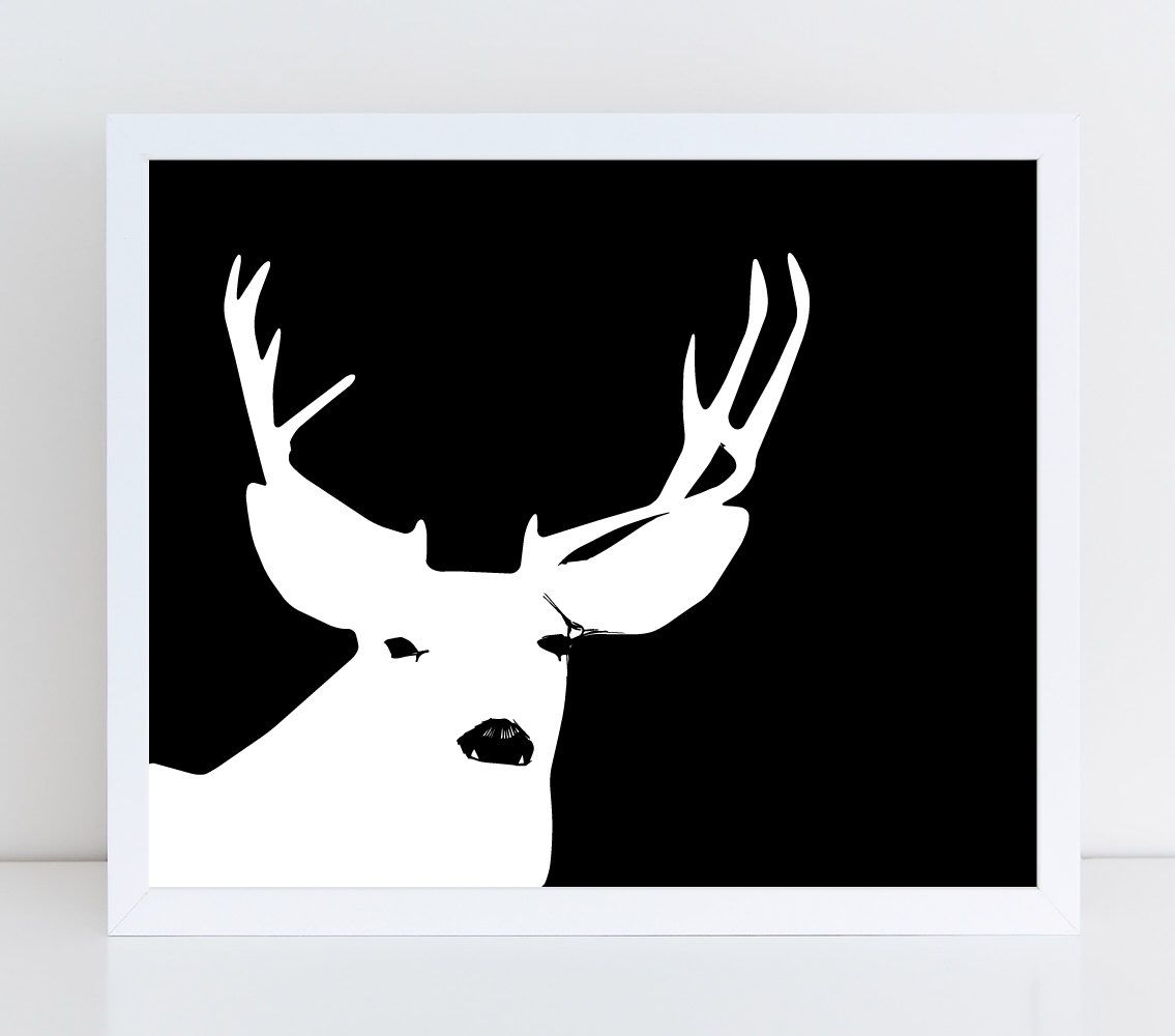 Deer art print black and white deer wall art deer and antlers art