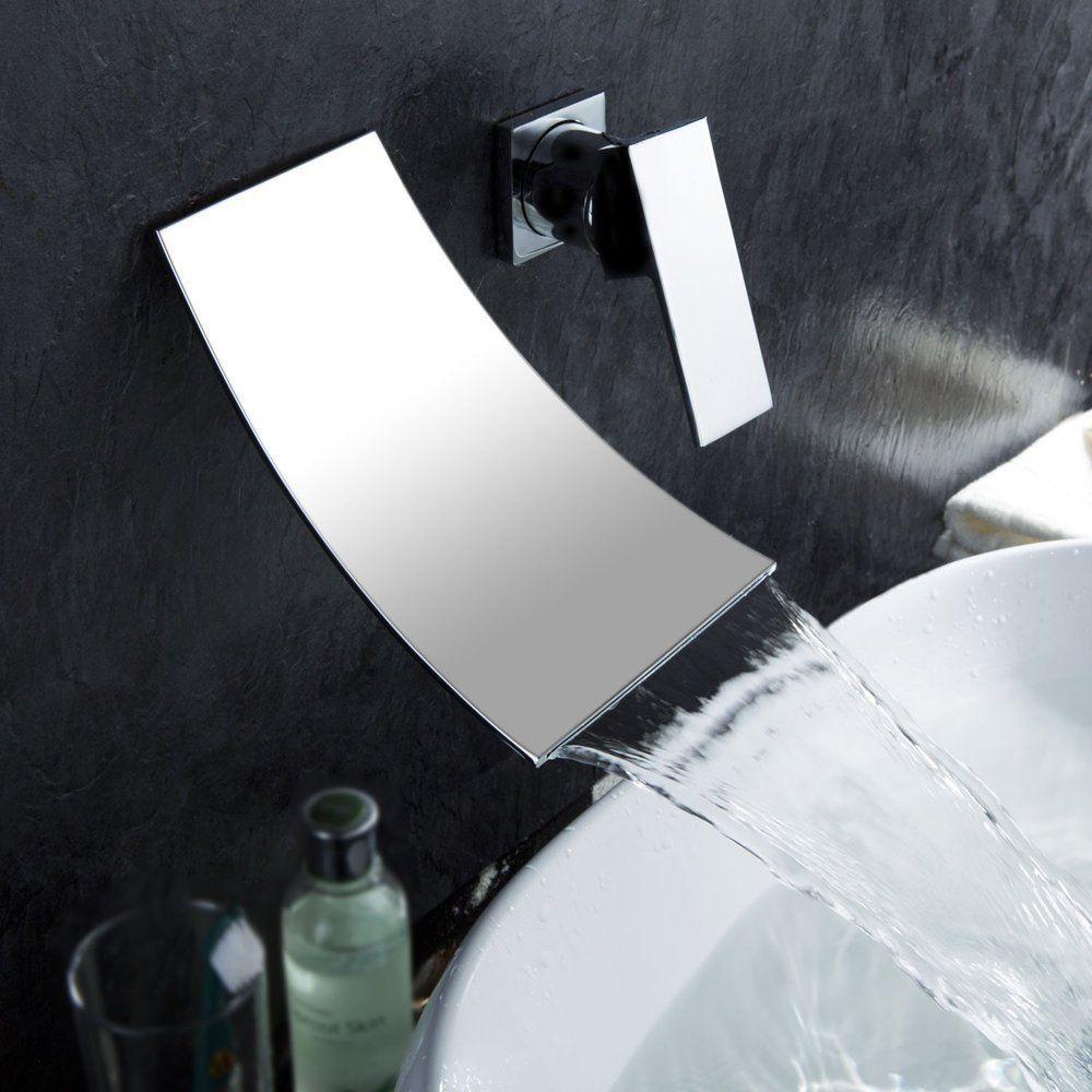 Kes Wall Mount Bathroom Faucet Waterfall Lavatory Sink Faucet