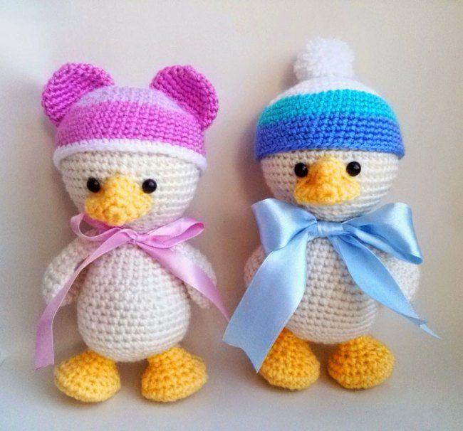 Amigurumi bebê pato crochet padrão