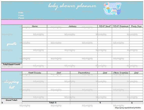 Baby Shower Planner Organizer Printable Pdf Instant Download