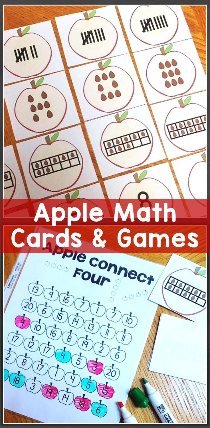Apple math cards games number sense tally marks 10