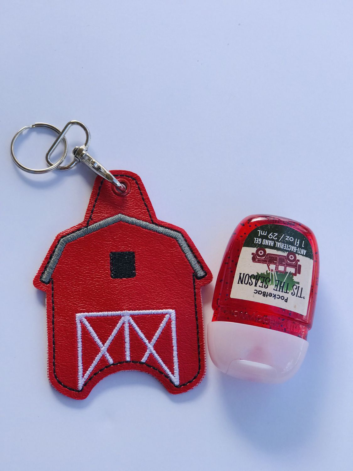Red Barn Hand Sanitizer Cozy Attaches To Keychains Backpacks