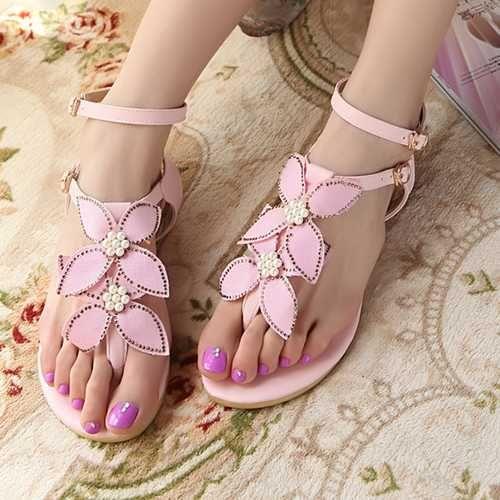 Douce Cher Sandales Flops Pas Flip Mode Fleurs Fille Mignon 4wCwgxq