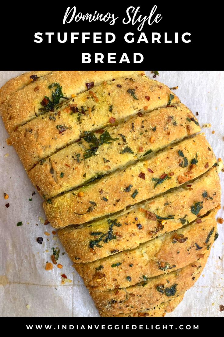 Dominos Stuffed Garlic Bread Recipe Garlic Bread Cheesy Garlic Bread Indian Food Recipes Vegetarian
