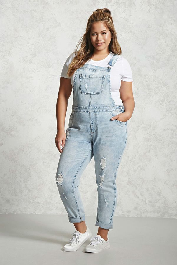 f5289c13c24 FOREVER 21+ Plus Size Acid Washed Overalls