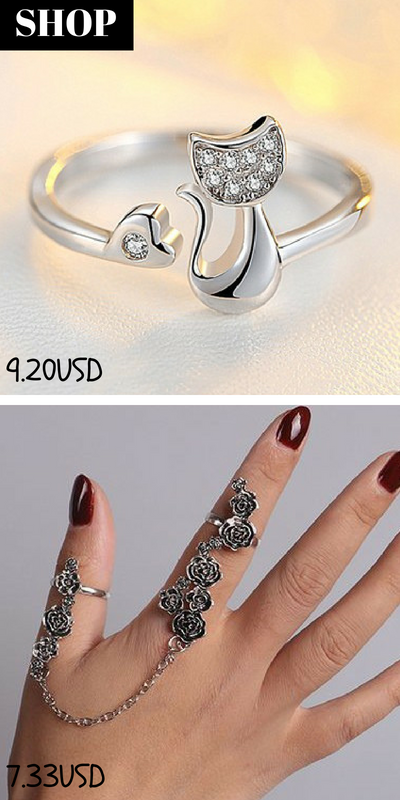a4dc2456bc Cat Shape Silver Metal Rhinestone Decorated Ring / Rose Shape Vintage Chain  Ring for Lady #liligal #ring