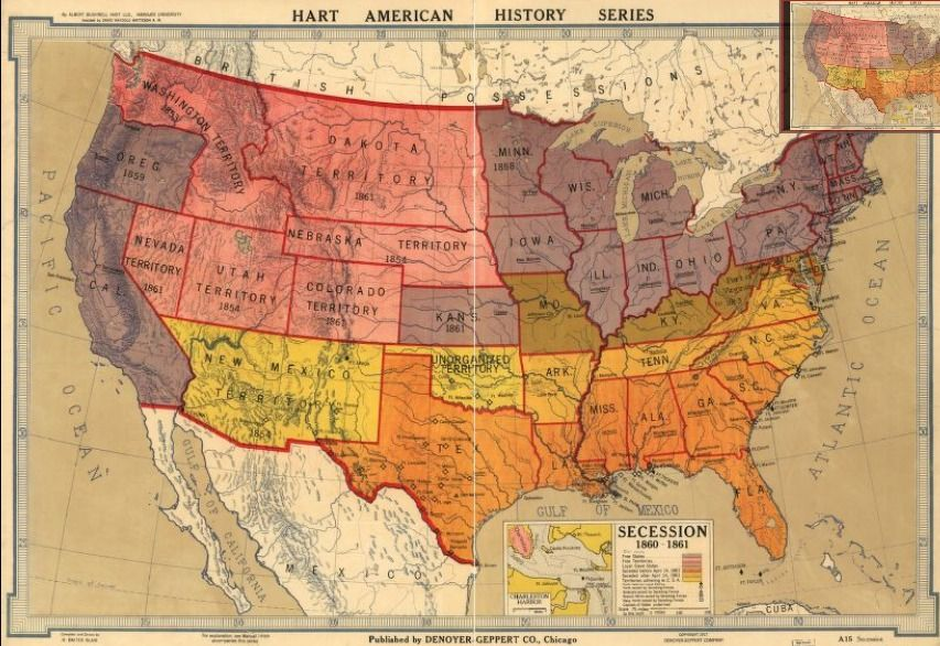 American history map of secession 1860-1861 | History Wall ...