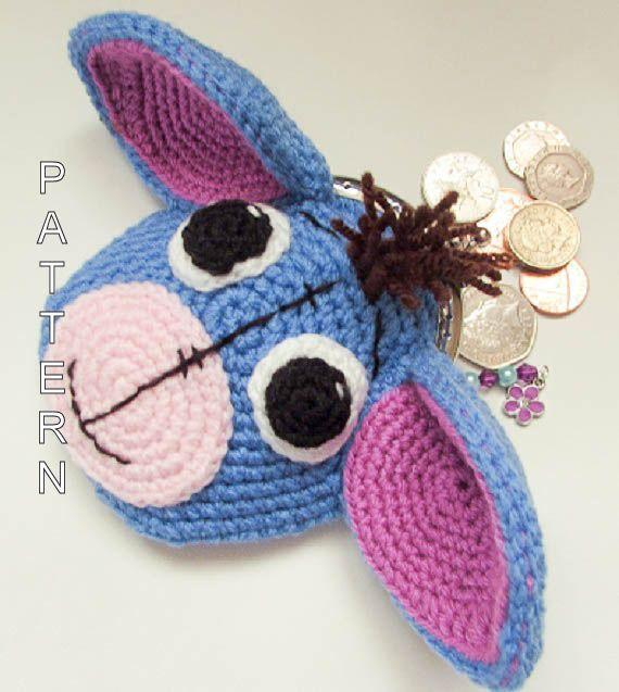 Crochet Pattern Eeyore Donkey Animal Coin Purse character purse bag ...