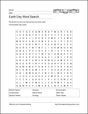 Earth Day Wordsearch Crossword Puzzle and More  Earth day The