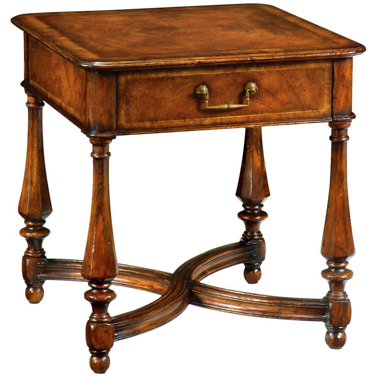 large side table with single drawer decorative walnut veneer