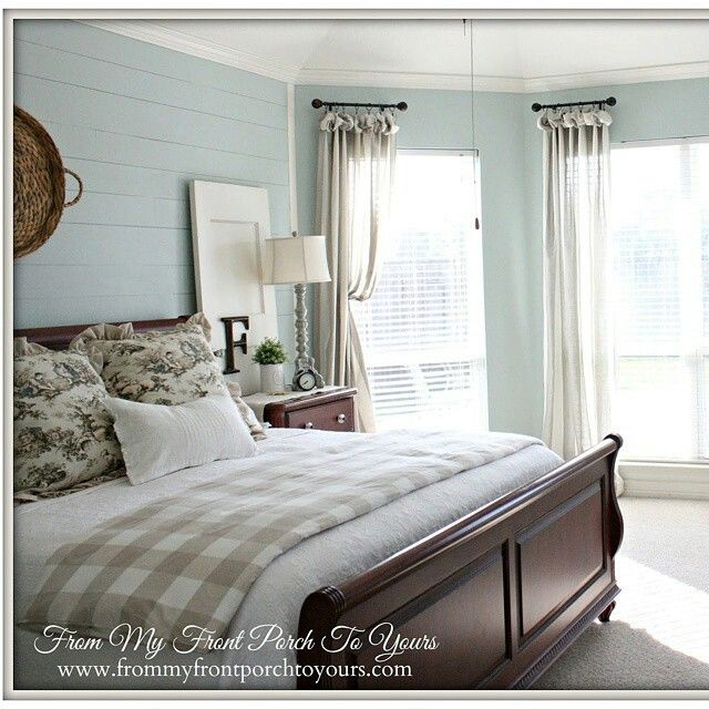 "Soothing Bedroom | Sherwin Williams ""Rainwashed"" 