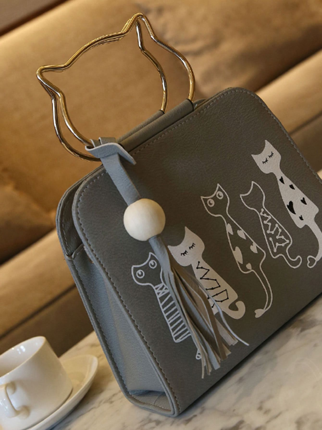 2619d42b22 Cartoon Print PU Shoulder Bag With Cat Ear Handle -SheIn(Sheinside ...