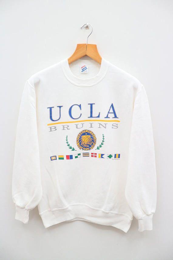 Vintage UCLA University Of California Bruins White Pullover ... 5c0b83f06