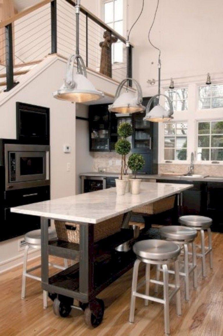 30 Wonderfull Narrow Kitchen With Stunning Details Kitcheninteriordes Narrow Kitchen Island Freestanding Kitchen Island Kitchen Island On Wheels With Seating