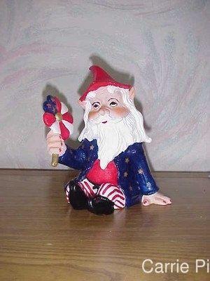 Sitting Patriotic Garden Gnome