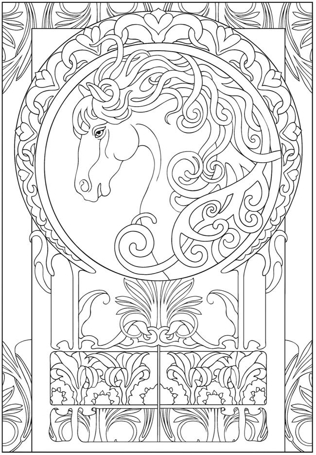 Art Nouveau Animal Designs Coloring Book Dover Publications ...