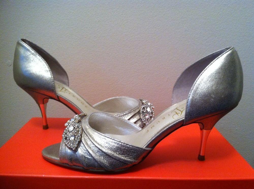 Ivanka Trump Nanci Platinum Suede Lesther Dressy Evening Heels Pumps 5.5 M