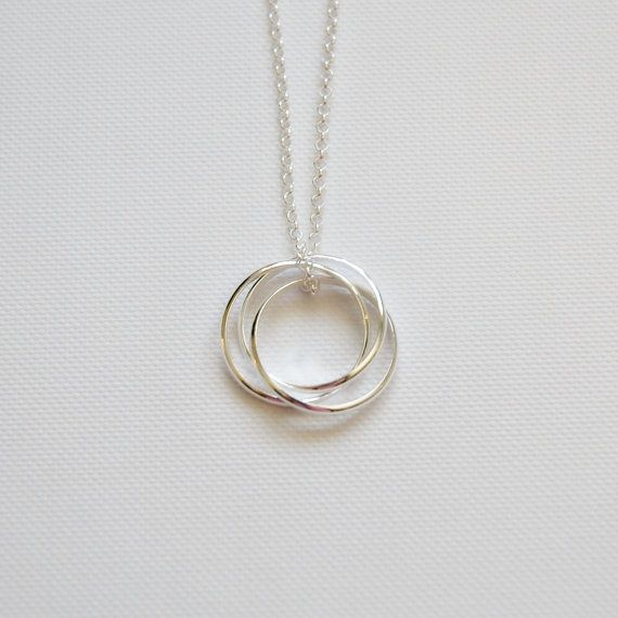 Three circle necklace - sterling silver nesting circles