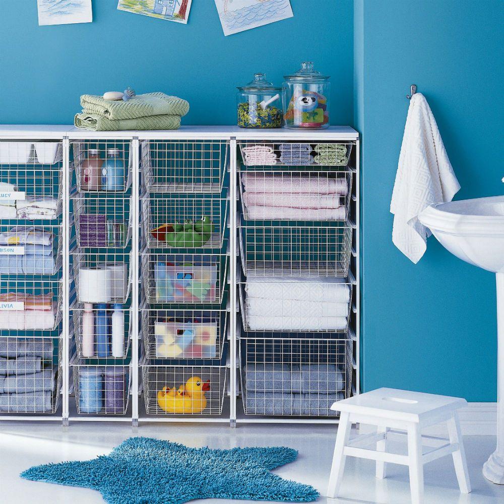 Elfan säilytysjärjestelmät tarjoavat räätälöityjä ratkaisuja jokaisen kodin tarpeisiin. Tässä esimerkkinä lapsiperheen kylpyhuone. #Netrauta #kylpyhuone #sailytys