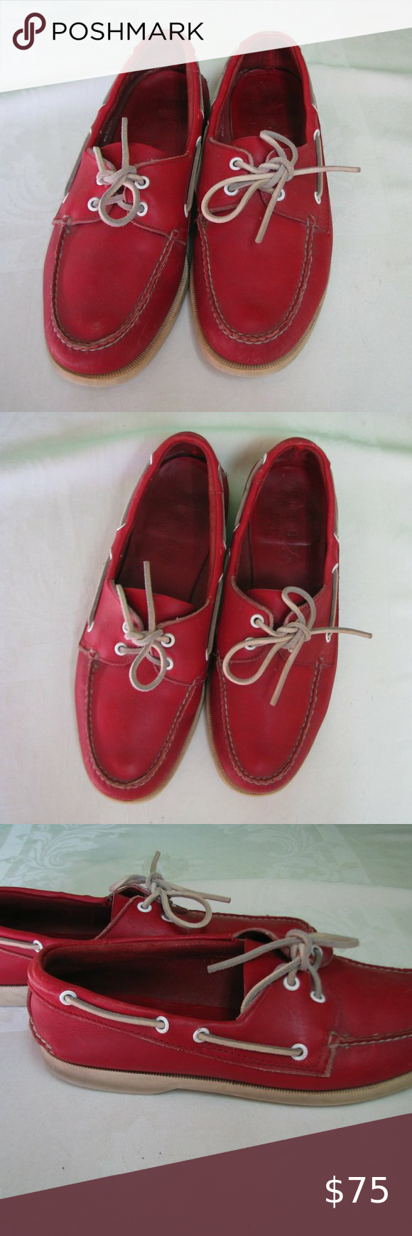 Vintage Austin Reed Red Leather Boat Shoes Leather Boat Shoes Boat Shoes Vintage Austin