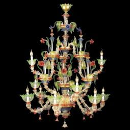 """""""Arboreo"""" Murano glass chandelier - 6+3+3 lights - transparent, multicolor and gold"""