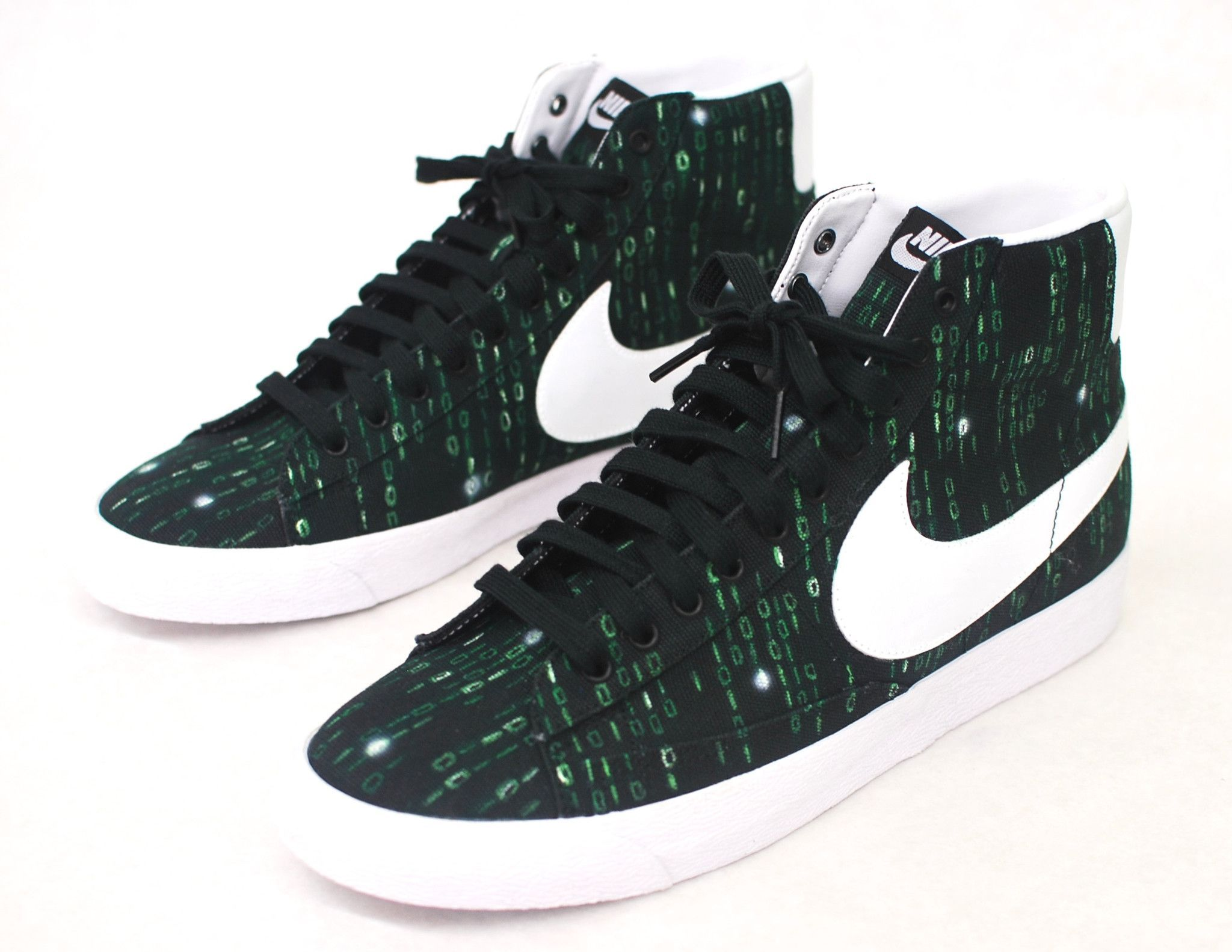 buy popular 7f263 9ee25 ... canada these custom black canvas nike blazer mid id sneakers features  my hand painted matrix theme