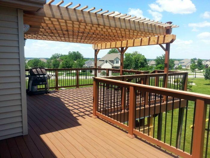 Berühmt ▷ 1001+ tolle Ideen für Balkonüberdachung aus Holz IE78