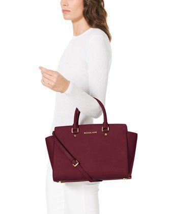 32d4b184bb55 Michael Kors SELMA in Bordeaux | Handbags | Michael kors satchel ...