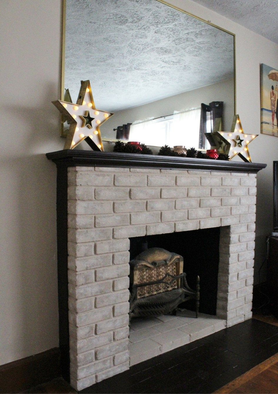 Fireplace Makeover Painting The Firebox And Mantel Brick
