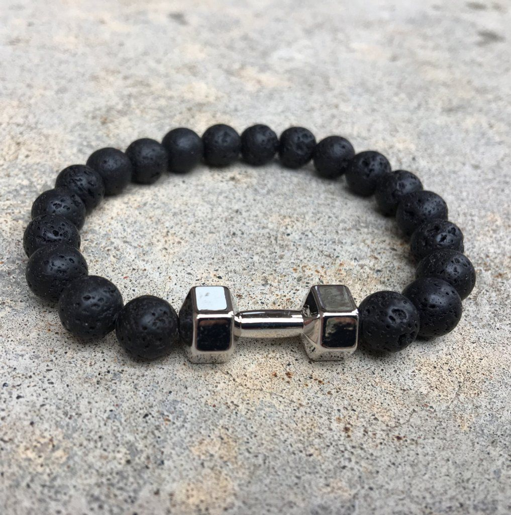 Fitness Dumbbell Gym Bracelet Lava Stone With Silver