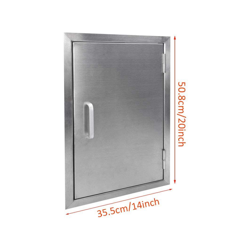 Seeutek Outdoor Kitchen Doors 14w X 20h Inch Bbq Access Door Stainless Steel Single Wall Construction Vertical Door F Vertical Doors Bbq Island Locker Storage