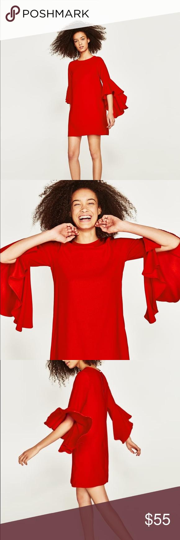 Nwt zara red ruffle bell sleeve mini dress zara dresses mini