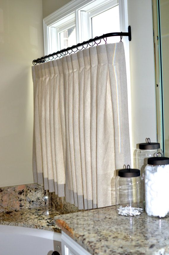 Pinch Pleat Cafe Curtains For Bathroom Made To By Recreateyour