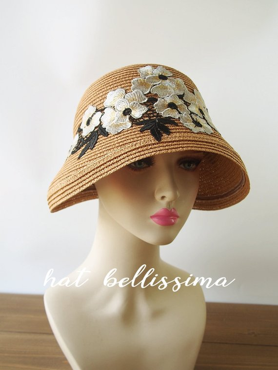 e4a6447f28f SALE 1920 s Vintage Style straw hat Summer hat hatbellissima millinery cloche  Hats