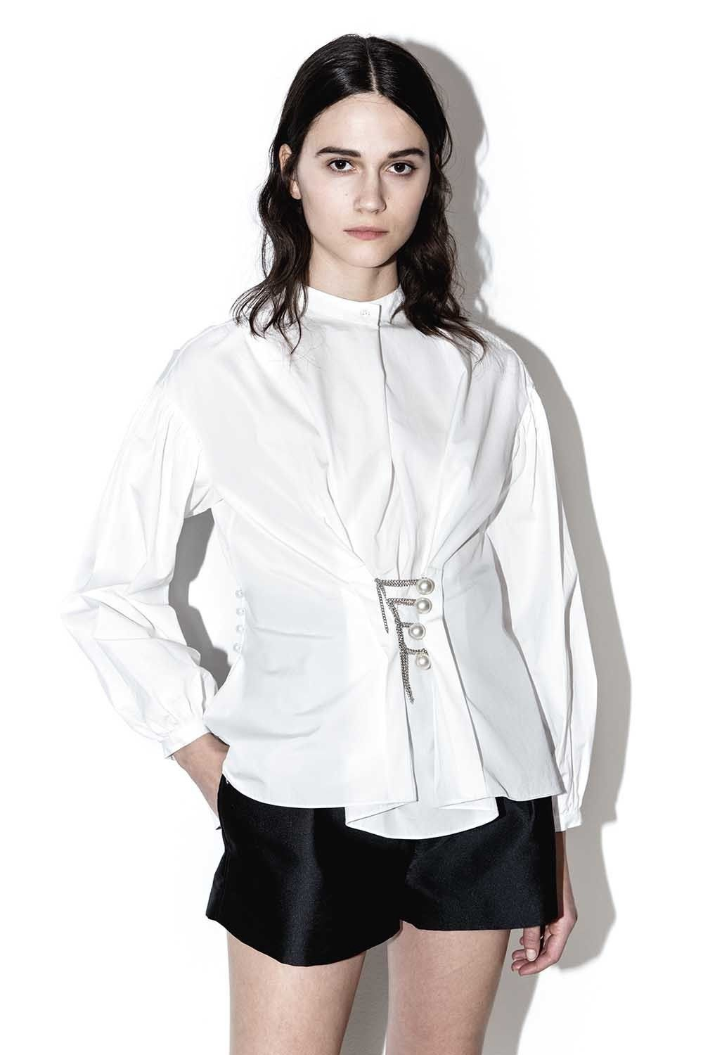 f1aa6f40904e6 3.1 PHILLIP LIM Draped blouse with pearl chains - White.  3.1philliplim   cloth