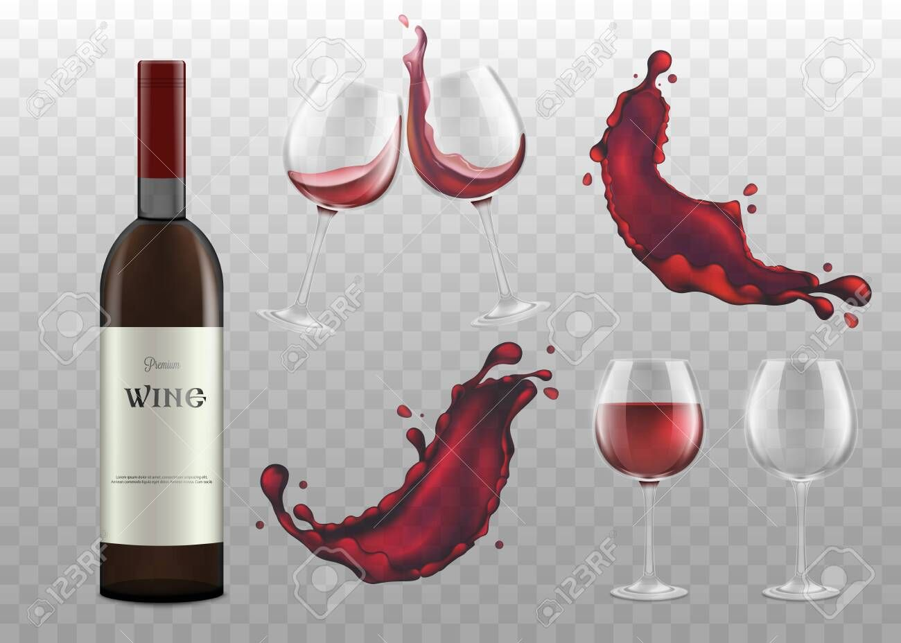 Set Of Red Wine Bottle Glassware And Single Splashes Realistic