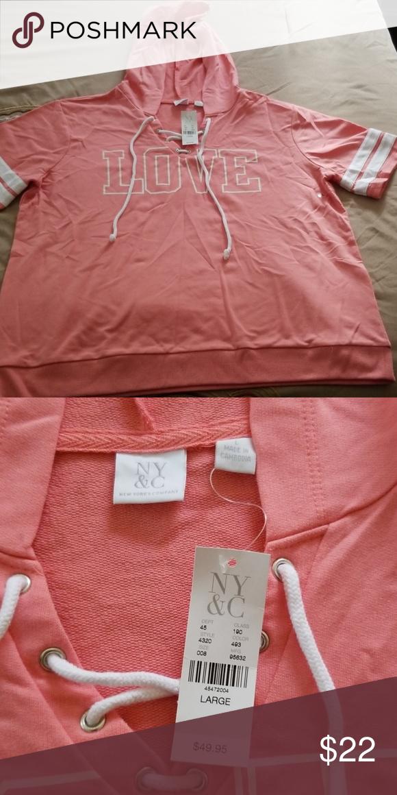 Coral  short sleeve sweatshirt