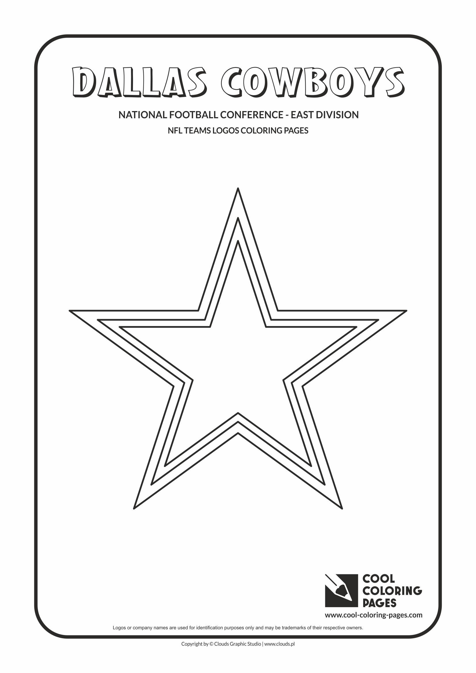 Dallas Cowboys Nfl American Football Teams Logos Coloring Pages