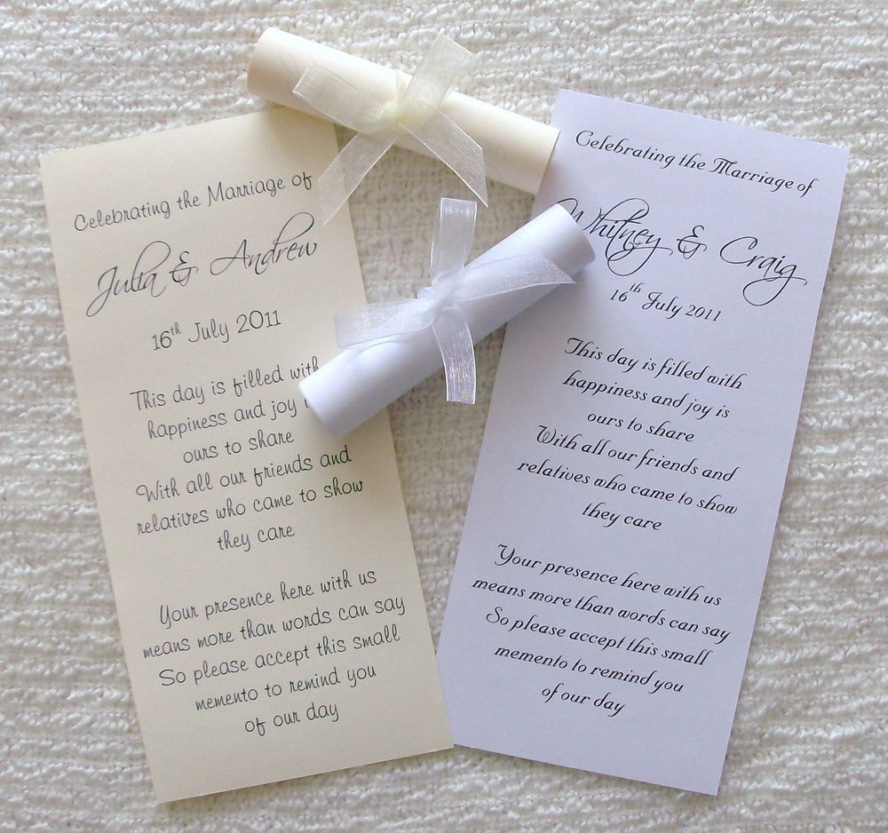 Wedding Favour or Invitation Scrolls Personalised