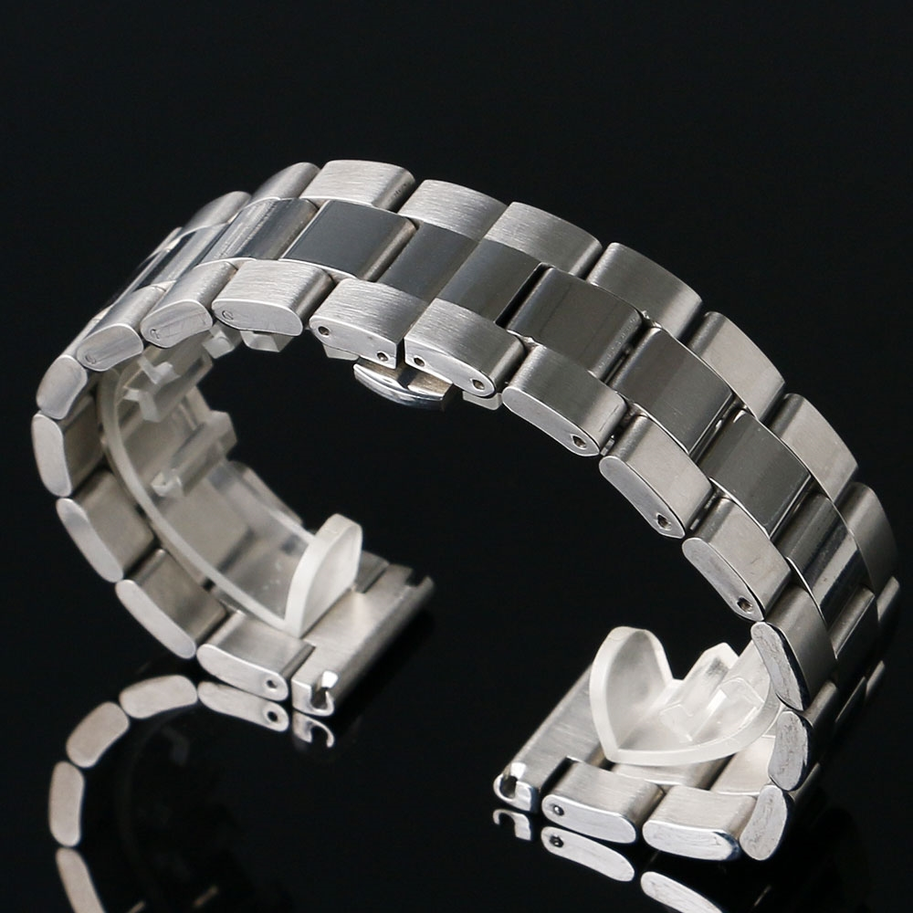 13.75$  Watch here - http://alifm9.shopchina.info/go.php?t=32656614455 - High Quality 20/22/24mm Width Silver Color Stainless Steel Watch Strap Band For Business Smart Watch With 2 Spring Bars  #aliexpressideas