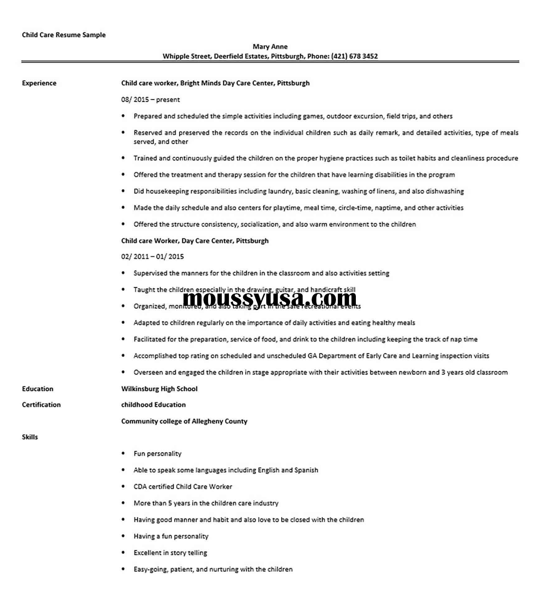 Child Care Resume Sample Childcare Child Care Worker Resume