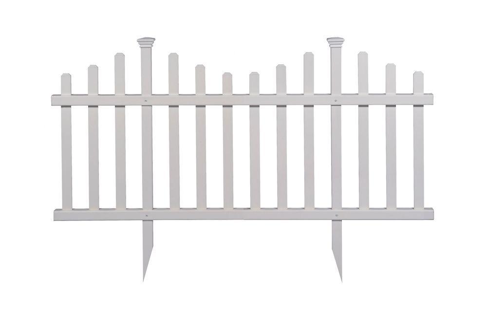 2 5 Ft X 5 Ft Madison No Dig Vinyl Garden Picket Fence Panel Kit
