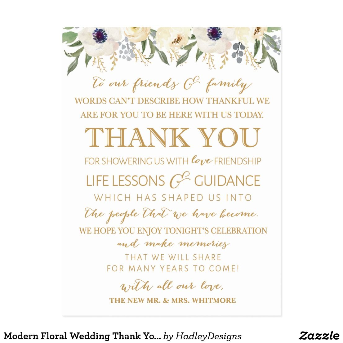 Modern Floral Wedding Thank You Place Card | Pinterest | Place card ...